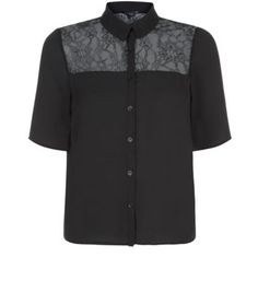 Black Lace Panel Boxy Shirt My Wardrobe, New Look, Fashion Inspiration, February, Lace, Sweaters, Shirts, Clothes, Shopping