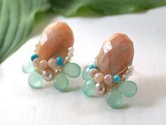 Gemstone cluster stud earrings  nature inspired peach