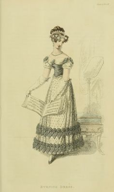 EKDuncan - My Fanciful Muse: Regency Era Fashions - Ackermann's Repository 1820  This last month of mourning shows fashion of half-mourning with the first of grey and the evening dress of white with black decorations.