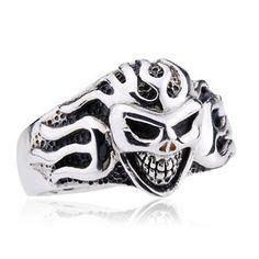 925 Sterling Silver Flaming Skull Head Antique Ring Gift for Men