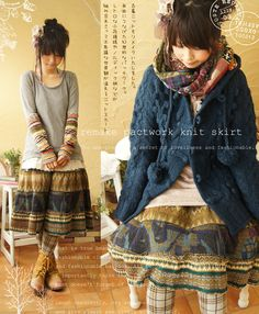Patchwork sweater knit skirt. Love that gray top with the knit motif sleeves.
