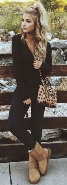 #winter #fashion / all black + panther print