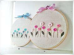 Hand Embroidery in hoop (Embroidery wall art) Pink Blue Button Flower Garden