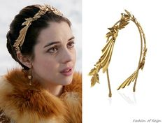 """fashion-of-reign:  In episodes 1x18 (""""No Exit"""") and 2x19 (""""Abandoned"""") Mary wears this sold outJennifer Behr Pegasus Headband.In the eighteenth episode she wears it with aGucci top, Reign Costumes custom skirt, Anthropologie belt,Nashelle Designs earrings,Gillian Steinhardt labyrinth and signetrings."""