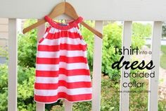 An adult T-shirt can be made into a dress with a braided collar, too. | 28 Household Items You Can Repurpose For Your Kids