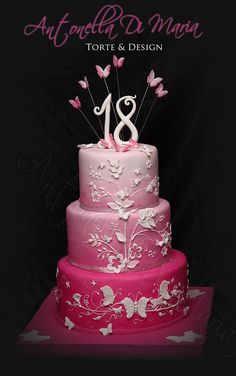 Antonella Di Maria TorteandDesign I wish i had this for my I would have loved it in purple! Pretty Cakes, Beautiful Cakes, Amazing Cakes, Sweet 16 Cakes, Big Cakes, Candy Cakes, Cupcake Cakes, Cupcakes, Debut Cake
