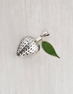 """Vintage Strawberry Pendant - 925 sterling silver perfume, poison or snuff bottle - 2"""" hollow fruit charm by CuriosityCabinet on Etsy"""