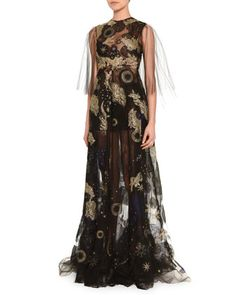Cosmic-Embroidered Sheer Tulle Gown by Valentino at Bergdorf Goodman.