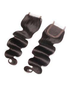 HC0019 4*4 100% Handmade Natural Black Virgin Remy Human Hair Piece Body Wave…