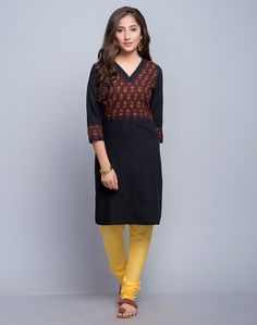 Cotton Khadi Sujni Embroidered Mini Kurta