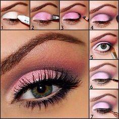 Makeup  Rose et brun gris pour yeux verts