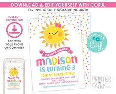 Little Sunshine Invitation, EDITABLE, Our Little Sunshine Invitation, Sun Invitation, Any Age, EDIT YOURSELF, Instant Download Digital Invitations, Birthday Invitations, Sunshine Birthday Parties, Save Yourself, Your Design, Age, Party, Etsy, Parties
