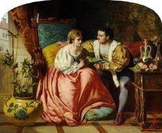 Henry VIII & Anne Boleyn in happier days by David Wilkie Wynfield, 1865.