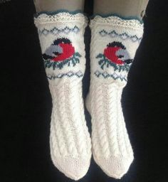 liwes' Bullfinch socks These socks are knitted and the birds are sewn on afterwards Always wanted to discover how to knit, although uncertain w. Crochet Socks, Knit Mittens, Knitting Socks, Baby Knitting, Knit Crochet, Knit Socks, Knitting Patterns Free, Crochet Patterns, Lots Of Socks