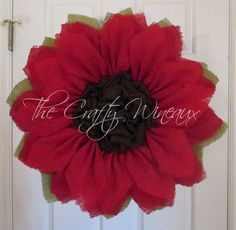 Extra Large Rich Red Burlap Poinsettia Wreath by TheCraftyWineaux