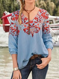 anniecloth Floral 1 Blue Green Rose Gray Orange Women Tops Casual V Neck Polyester Long Sleeve Tops – Annie Cloth Casual Tops For Women, Blouses For Women, Ladies Tops, Style Outfits, Casual Outfits, Casual Shirt, Blouse Ample, Look Boho, Boho Style