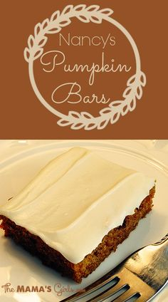 """4 eggs  2 c. sugar  1 c. oil  16 oz. can pumpkin  2 c. flour  2 t. soda  1/2 t. salt  1 tsp. cinnamon     Combine in order listed.  Pour into a greased 17 x 12 x 1"""" jelly roll pan.  Bake at 350° for 25 minutes.   Cool.    Cream Cheese Frosting     1 – 8oz. pkg. cream cheese, softened  1/3 c margarine, softened  1 lb. powdered sugar  1 t. vanilla"""