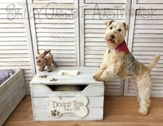 Presenting the most sought-after doggy toybox on the planet! NOW SHIPPING WORLDWIDE!!! Handmade in the UK from solid wood, this wonderfully unique toy box will provide a stylish and practical storage solution for doggys toys... and YOU with a beautiful piece of furniture for your