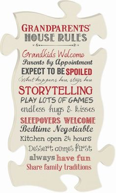 Vertical Grandparents' House Rules $26.95