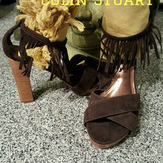 SEXY BROWN SUEDE HEELS 6 Inch Ankle Fringe Straps Colin Stuart Shoes Heels