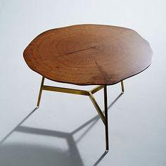 "End Grain Coffee Table 30"" diameter X 18"" high.  Dull brass base. $399"