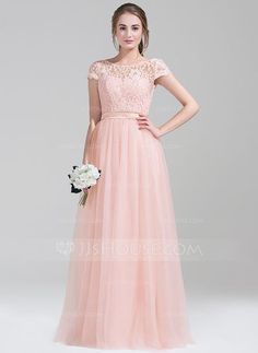 [US$ 139.99] A-Line/Princess Scoop Neck Floor-Length Tulle Lace Bridesmaid Dress With Bow(s)