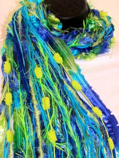 Knotted Fringe scarf  Parrot shades of by Southernbornnblessed, $24.95