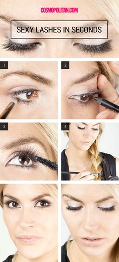 Cool DIY Makeup Hacks for Quick and Easy Beauty Ideas - Get Sexy, Voluminous Lashes in Seconds - How To Fix Broken Makeup, Tips and Tricks for Mascara and Eye Liner, Lipstick and Foundation Tutorials Sexy Eye Makeup, Smokey Eye Makeup, Diy Makeup, Smoky Eye, Makeup Ideas, Makeup Tutorials, Makeup Tricks, Beauty Make-up, Beauty Makeup Tips