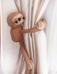 Sloth curtain tie back,1 pcs,Shabby chic curtains,Crochet Sloth,Crochet Curtain Tie Backs,Nursery tie backs,Nursery curtains,Etsy.com
