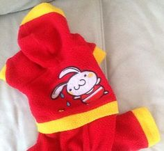 Small Red And Yellow All In One Fleece Dog Coat / faux track suit