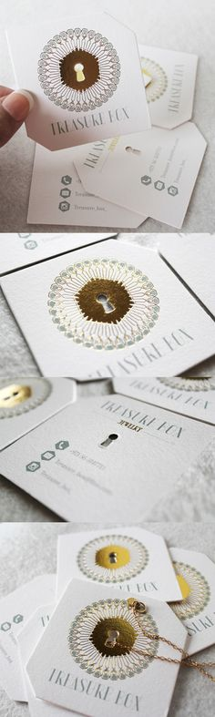 Elegant Die Cut And Gold Foil Embossed Business Card For A Jewelry Store