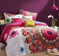 Fadfay Parure, Fashion Boho Parure de lit, Boho moderne, housse de couette, étui coloré Parure de lit Bohème, reine, 4pièces, Coton, multicolore, King