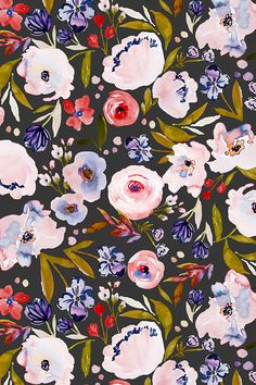Indy Bloom Design Harriet Dark by indybloomdesign - Hand painted flowers in pink and red with olive green leaves on a black background on fabric, wallpaper, and gift wrap. Bold floral pattern in a painterly style. #floral #homedecor #flowers #design #surfacedesign #designer