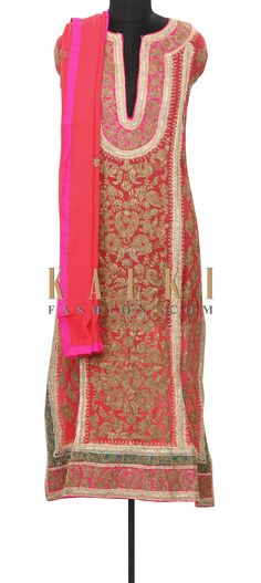 Buy Online from the link below. We ship worldwide (Free Shipping over US$100) Price- $209 Click Anywhere to Tag http://www.kalkifashion.com/coral-semi-stitched-suit-enhanced-in-zari-only-on-kalki.html
