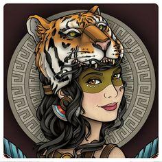 ".@samphillipsillustration ""Be Brave"" : woman in tiger headdress"