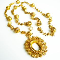 Philippines Tamborin Necklace Gold Plated by #zephyrvintage on Etsy