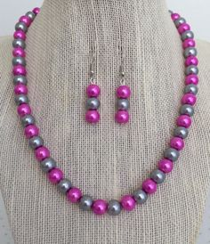Pink and Gray Pearl Necklace Pink and Grey by CherishedJewelryCo