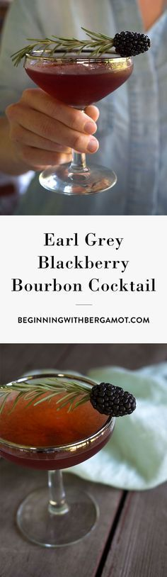 This cocktail is rich, warm and fruity. It's the perfect tea cocktail to drink as summer turns into fall. Just combine Earl Grey tea, bourbon whiskey, blackberry, simple syrup and garnish with rosemary. Click to get the full recipe. // Earl Grey Blackberry Bourbon Cocktail // Beginning with Bergamot: {wine glass writer}