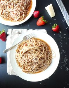 Strawberry Pasta with Pecorino - it's like spaghetti with a little something extra. Adapted from Rose's Luxury.