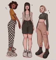 Cute Art Styles, Cartoon Art Styles, Fashion Design Drawings, Fashion Sketches, Anime Outfits, Cute Outfits, Clothing Sketches, Art Inspiration Drawing, Drawing Clothes