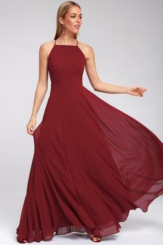 The Mythical Kind of Love Wine Red Maxi Dress is simply irresistible in every single way! A billowing maxi dress with apron neckline, crisscrossing straps and an open back. Affordable Bridesmaid Dresses, Cute Prom Dresses, Grad Dresses, Beautiful Prom Dresses, Party Dresses For Women, Formal Dresses, Lounge Dresses, Dress Prom, Trendy Dresses