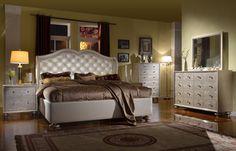 Glam Black Crystal Tufted Leather Bed - Modern Bedroom Furniture ...