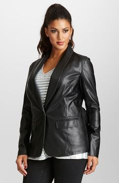 Free shipping and returns on Mynt 1792 Faux Leather Blazer (Plus Size) at Nordstrom.com. The leather trend takes a polished turn with a tailored blazer cut from eco-friendly faux leather. The one-button style is fashioned with a shawl collar and double-vent back.
