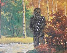 Star Wars Chewbacca Parody Painting - Repurposed Thrift Art - Print Poster Canvas - Funny Star Wars Chewy Print Parody Gift Star Wars Fan