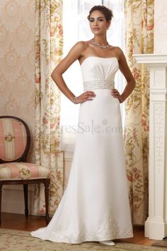 Amazingly Elegant Strapless Sheath Design with a Romantic Watteau Train and Beaded Ribbon