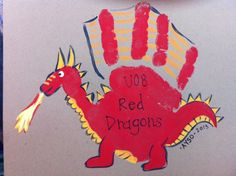 Dragon Handprint Craft for Preschool | Handprint dragon. | Valentine's Day | Pinterest
