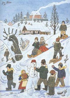 Výsledok vyhľadávania obrázkov pre dopyt kids playing in the snow - naive art