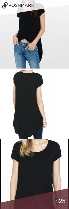 High Low Top only wore once. In new like condition. XS size, runs big. stretchy material. Express Tops