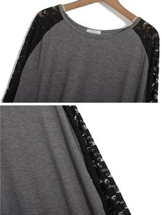 Gray T-shirt With Lace Sleeve | Choies