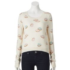 I want this LC Lauren Conrad Beaded Crop Sweater with donuts on it!!